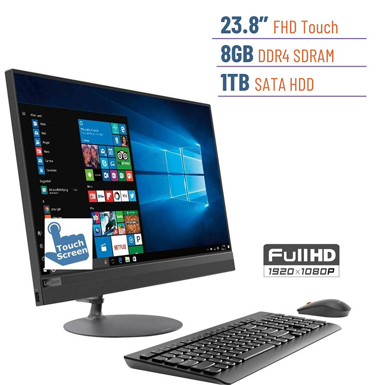 2019 Lenovo Ideacentre Business 520 23.8 Touchscreen FHD(1920x1080) All-in-One Desktop PC, AMD