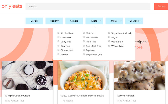food recipe sites only eats